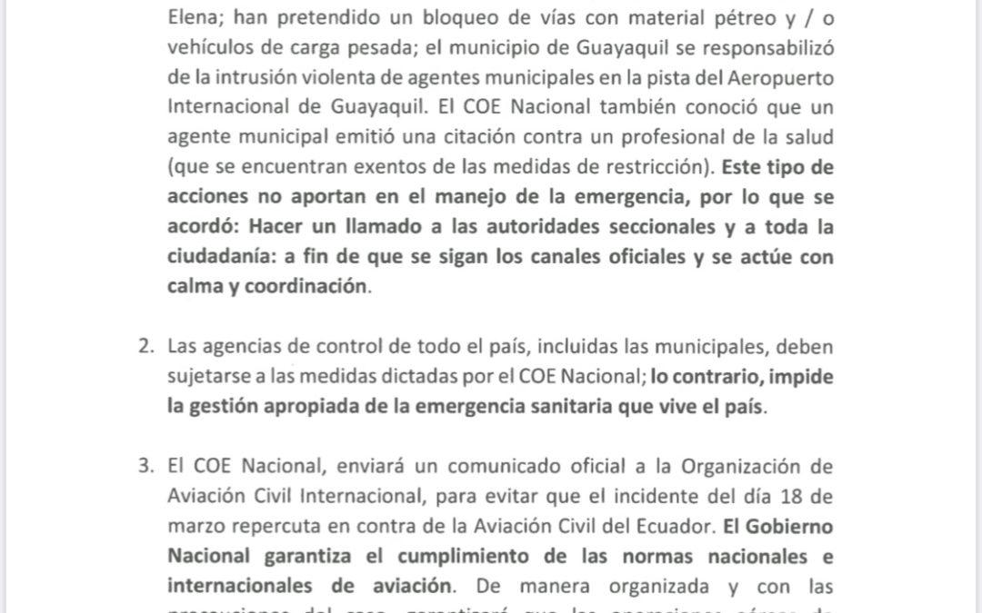 Resoluciones del COE Nacional al 19 de marzo frente a Covid-19