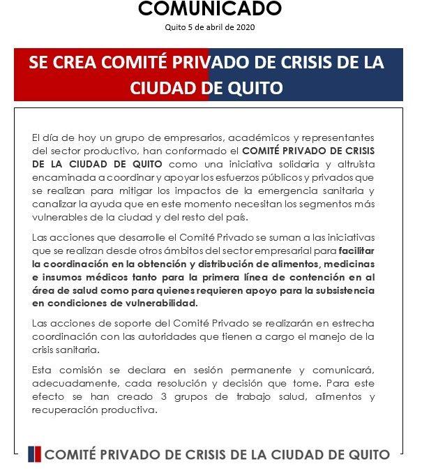 Somos parte del Comité Privado de Crisis de Quito