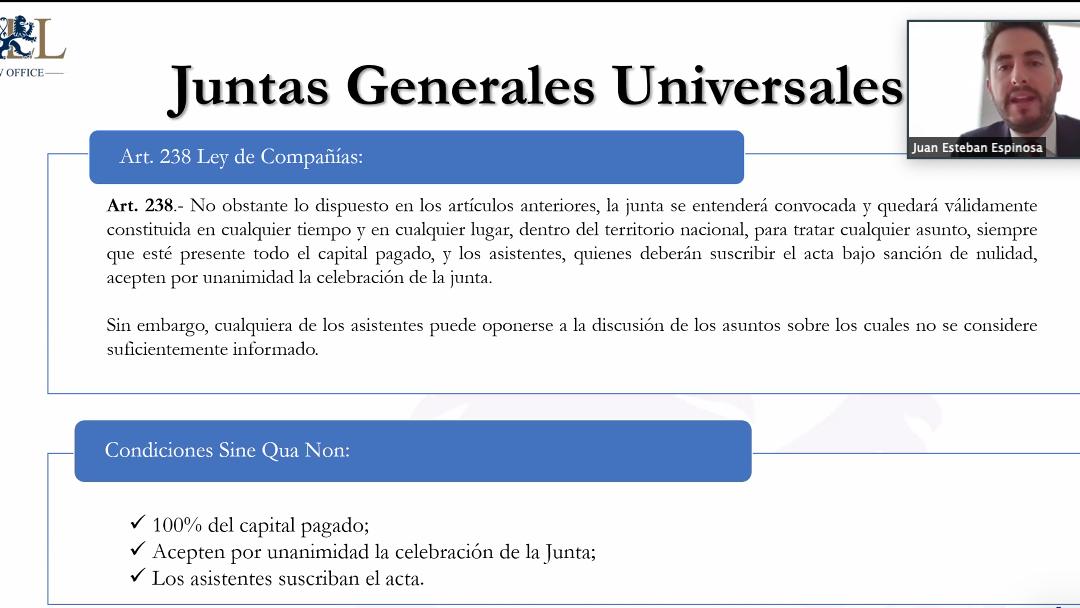 """Webinar: """"Uso de medios telemáticos para la efectiva celebración de juntas generales"""""""